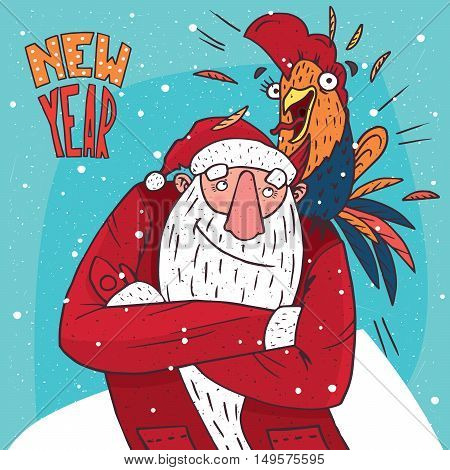 Cartoon Santa Claus standing and looking at the screaming or rooster who sits on his shoulder. Blue background and New Year lettering