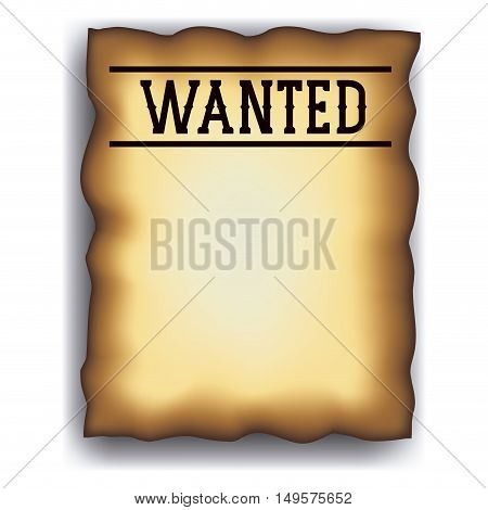Wanted paper poster icon. Search and western theme. Vintage retro and isolated design. Vector illustration