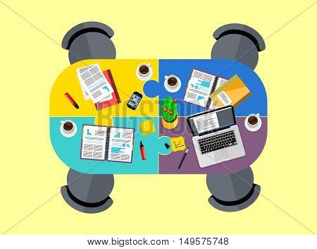 Top view of conference room, vector illustration. Oval table and four chairs around. Laptop, smartphone, coffee cups and financial documents on table. Business meeting. Office workplace background