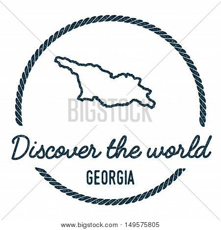 Georgia Map Outline. Vintage Discover The World Rubber Stamp With Georgia Map. Hipster Style Nautica