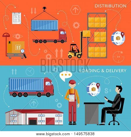 Warehouse process infographics. Porter on a truck to ship the goods. Warehouse management concept flat design vector illustration. Shipment and delivery banners set.