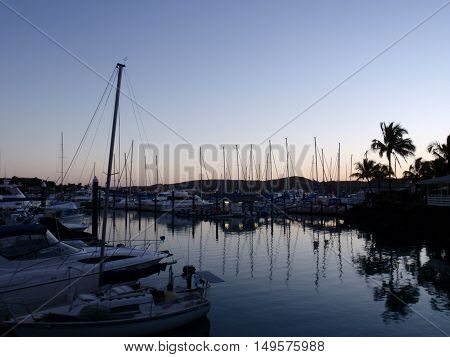 Boats at sunset, Hamilton Island, Queensland, Australia