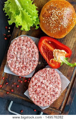 Cutlets And Homemade Bun For Burgers.