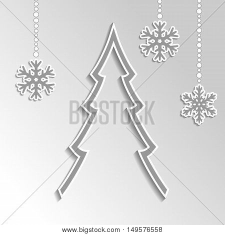 Christmas Background In Gray Color With Snowflakes