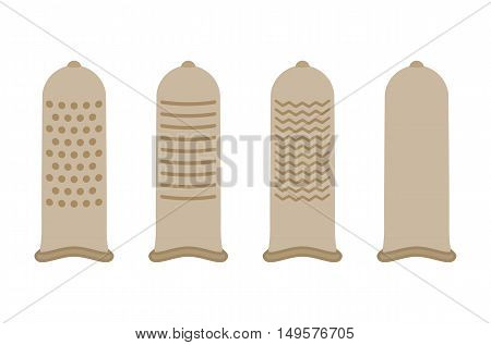 Condoms for your protection and safe sex. Condom illustration in flat style isolated on white background.