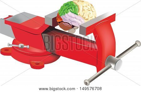 bitten by red turntable holds a brain