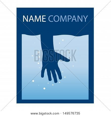 Vector sign hand immersed in water, colored in blue