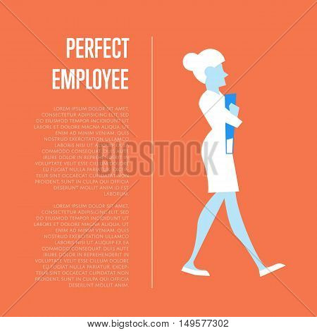 Active businesswoman walking with folders. Perfect employee banner, isolated vector illustration on blue background. Office life, business process. Human resource concept. Perfect candidate for job