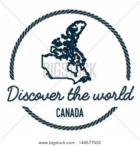Canada Map Outline. Vintage Discover The World Rubber Stamp With Canada Map. Hipster Style Nautical