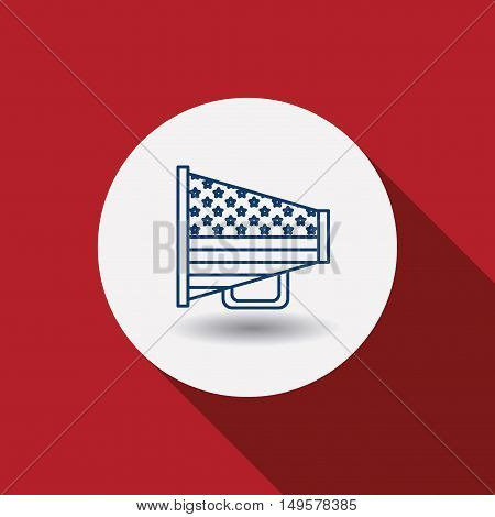 Megaphone icon. Vote election nation and government theme. Red background. Vector illustration