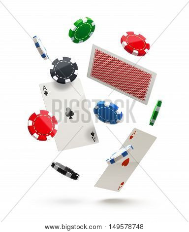 casino chips and cards isolated on white in air realistic theme eps 10