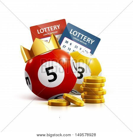 illustration of lottery icon realistic objects eps 10