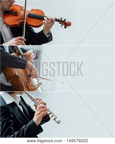 Professional classical musicians playing violin classical music concept banner set with copy space