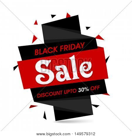 Black Friday Sale with Discount Upto 30% Off, Creative Paper Tag or Banner, Vector illustration.