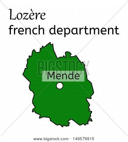 Lozere french department map on white in vector