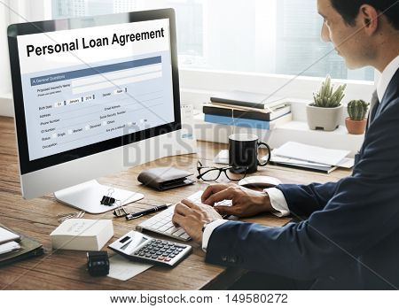 Personal Loan Agreement Form Concept