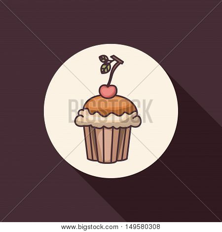 Cupcake muffin icon. Bakery food daily and fresh theme. Purple background. Vector illustration