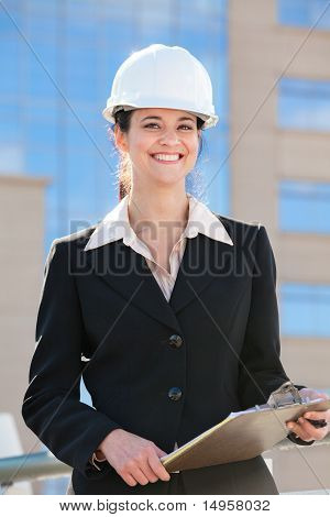 Portrait of a woman working in construction