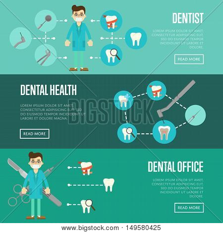 Dental office horizontal website templates with male dentist in blue medical uniform and teeth icons, vector illustration. Tooth care and restoration, stomatology and orthodontics. Oral health care
