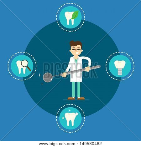 Male cartoon dentist in medical uniform holding big dental mirror on blue background with teeth round icons, vector illustration. Oral dental hygiene, tooth health concept. Dental office banner