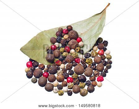 Colorful pepper and dry bay leaf isolated on white