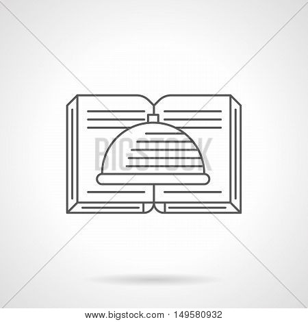 Abstract symbol of open cook book with dish on pages. Literary for recipes, kitchen and culinary, restaurant or cafe menu. Black flat line vector icon.