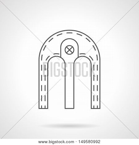 Double archway with column. Bilobed shape arch for element of architecture construction. Facade, doorway, window frame and other samples. Black flat line vector icon.