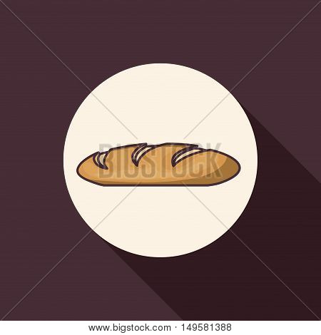 Bread icon. Bakery food daily and fresh theme. Purple background. Vector illustration