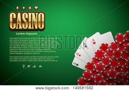 vector illustration of poker green table cards and chips realistic theme top view place for text