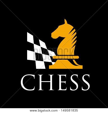 Vector sign horse of chess, isolated in black