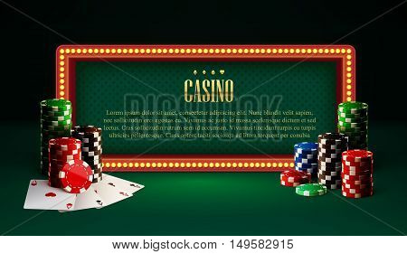 illustration of casino chips lamp vintage banner and cards