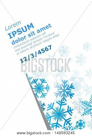 Vector winter background, blue snow and ice