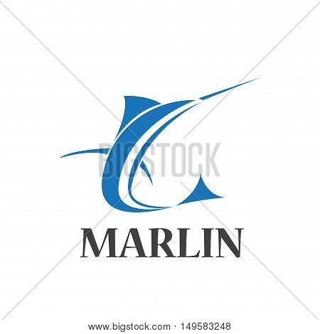 Vector sign abstract marlin, isolated in white