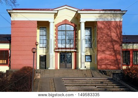 Building of railway station in the popular health resort of Ogre in central Latvia.