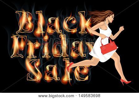 young woman in white dress running on Black friday Sale