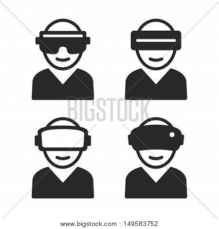 Virtual and Augmented Reality Icon Set. Vector illustration