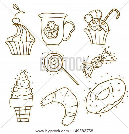 White and brown  pattern with cakes, cupcakes, ice-creams, candies. Sweets