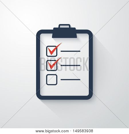 The checklist icon. Clipboard symbol Flat Vector illustration.