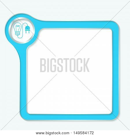 Vector blue box for your text and idea symbol