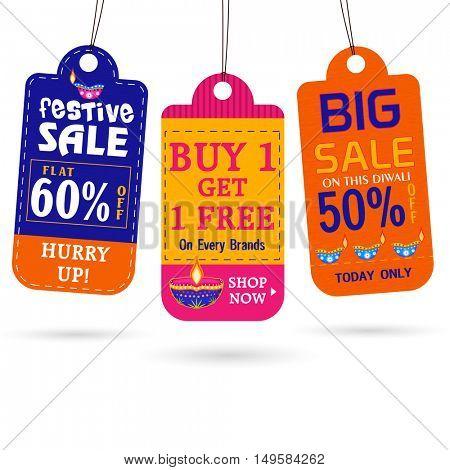 Set of Three Diwali Big Sale Tags or Labels design on white background, Vector illustration for Indian Festival celebration.
