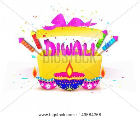 Illustration of a gift box with stylish text Diwali, firecrackers and colourful oil lamps for Indian Festival of Lights celebration.