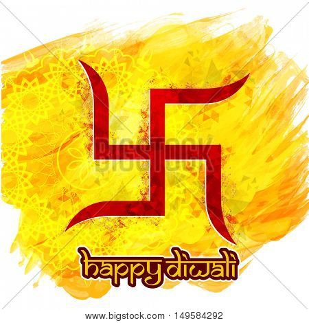 Red Swastika symbol on abstract brush stroke background for Indian Festival, Happy Diwali celebration.
