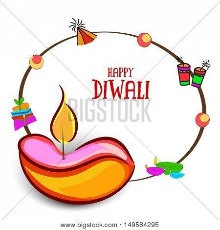 Beautiful Greeting Card design with colourful ornaments like Lit Lamps, Crackers or Gifts, Vector Illustration for Indian Festival of Lights, Diwali Celebration.