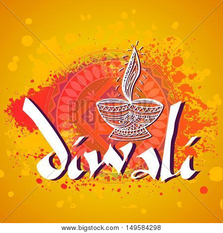 Greeting Card with floral oil lamp on abstract background for Indian Festival, Happy Diwali celebration.