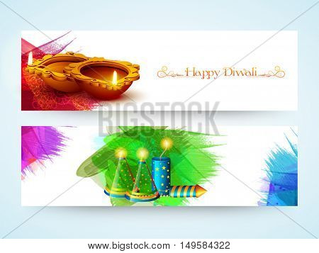 Website Header or Banner Set with glowing Firecrackers and Illuminated Lit Lamps for Indian Festival of Lights, Happy Diwali Celebration.