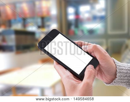 using smart phone showing blank white screen in woman hand. concept communication