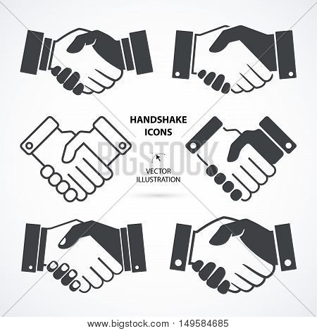 Black icon handshake collection. Background for business and finance.