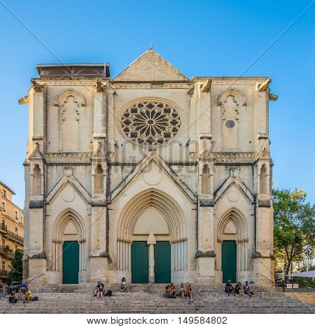 MONTPELLIER,FRANCE - AUGUST 26,2016 - Facade of Saint Roch church in Montpellier. Montpellier is the capital of the Herault department and is the 8th largest city of France.