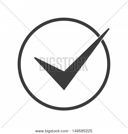 Check In A Circle Icon. Check In A Circle Vector Isolated On White Background. Flat Vector Illustrat