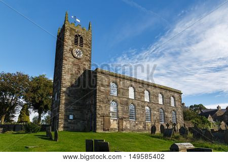 LONGNOR ENGLAND - SEPTEMBER 28: St Bartholomew Church in the Peak District. In Longnor Staffordshire England. On 28th September 2016.